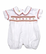 Le Za Me Baby Boys White Bubble - Smocked in Red for Christmas