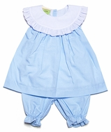 Le Za Me Baby Girls Light Blue Platter Collar Float Bloomers Set