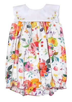 Le Za Me Baby Girls Watercolor Market Blooms Floral Bubble with Embroidered Collar