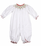 Le Za Me Baby Girls White Romper - Smocked in Red / Green for Christmas