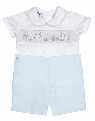 Le Za Me Baby / Toddler Boys Blue Smocked Easter Bunny Button On Outfit