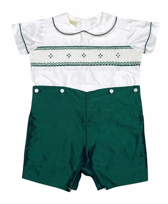 Le Za Me Baby / Toddler Boys Smocked Silk Button On Suit - Emerald Green