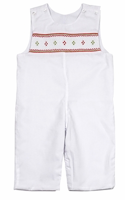 Le Za Me Baby / Toddler Boys White Longall - Smocked in Red for Christmas