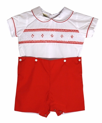 Le Za Me Baby / Toddler Boys Christmas Red Smocked Button On Shorts Outfit