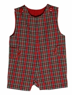Le Za Me Baby / Toddler Boys Red Christmas Plaid Jon Jon with Tabs