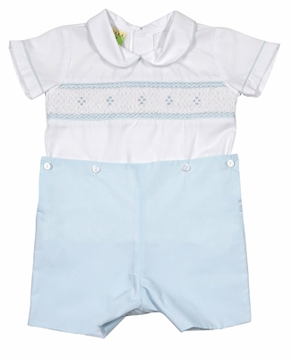 Le Za Me Baby / Toddler Boys Smocked Button On Suit - Light Blue