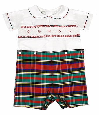 Le Za Me Baby / Toddler Boys Smocked Christmas Red / Green Plaid Silk Button On