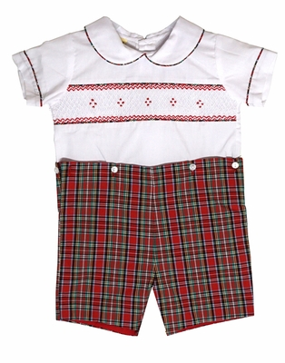 Le Za Me Baby / Toddler Boys Red Christmas Plaid Smocked Button On Outfit