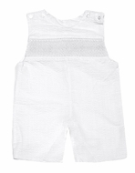 Le Za Me Baby / Toddler Boys White Seersucker Smocked Shortall