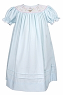 Le Za Me Baby / Toddler Girls Blue Smocked Easter Bunny Bishop Dress