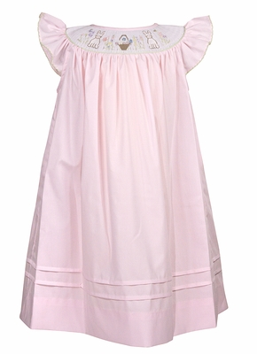 Le Za Me Baby / Toddler Girls Pink Smocked Easter Bunny Dress - Flutter Sleeves