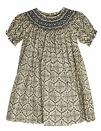 Le Za Me Baby / Toddler Girls Navy Blue Medallion Smocked Bishop Dress