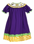 Le Za Me Baby / Toddler Girls Purple / Green / Yellow Smocked Mardi Gras Dress