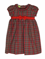 Le Za Me Baby / Toddler Girls Red Christmas Plaid Libby Float Dress - Red Bow