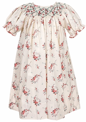 Le Za Me Baby / Toddler Girls Cream / Red Christmas Roses Smocked Dress - Bishop