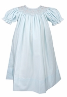 Le Za Me Baby / Toddler Girls Smocked Bishop Dress - Light Blue