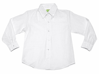 Le Za Me Boys Button Down Dress Shirt - White Seersucker