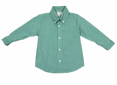 Le Za Me Boys Kelly Green Check Button Down Dress Shirt