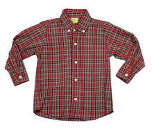 Le Za Me Boys Red Christmas Holiday Plaid Button Down Dress Shirt
