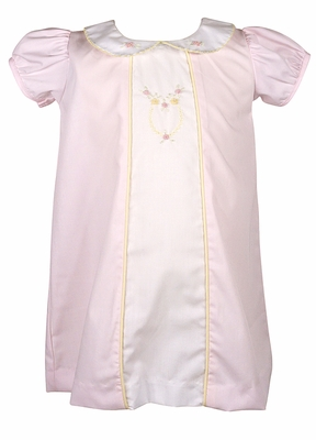 Le Za Me Girls Aden Pink Dress - Collar and Yellow Embroidery