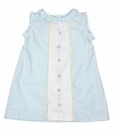Le Za Me Girls Aden Sleeveless Dress - Blue with Ruffle Trim and Flower Embroidery