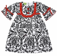 Le Za Me Girls Black Damask Susie Yoke Dress - Bell Sleeves & Red Buttons