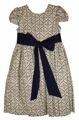 Le Za Me Girls Navy Blue Medallion Dress - Sash Ties in Front or Back