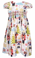Le Za Me Girls Nutcracker Ballet Christmas Dress - Smocked Waist and Sash
