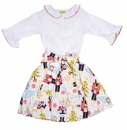Le Za Me Girls Nutcracker Ballet Print Skirt with Blouse