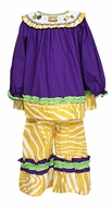 Le Za Me Girls Purple / Yellow Smocked Mardi Gras Pants Set