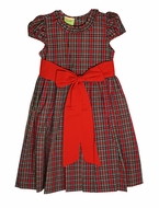 Le Za Me Girls Red Christmas Plaid Dress - Ruffle Neck and Big Red Sash