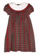 Le Za Me Girls Red Christmas Plaid Loula Dress - Round White Collar