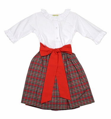 Le Za Me Girls Red Christmas Plaid Skirt Set with Red Sash and Ruffle Blouse