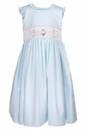 Le Za Me Girls Ruffled Sleeveless Smocked Easter Bunny Dress with Sash - Blue