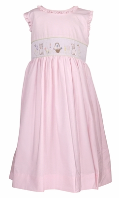 Le Za Me Girls Ruffled Sleeveless Smocked Easter Bunny Dress with Sash - Pink