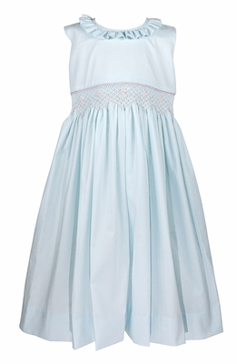 Le Za Me Girls Sleeveless Smocked Waist Dress with Ruffle Neck and Sash - Light Blue