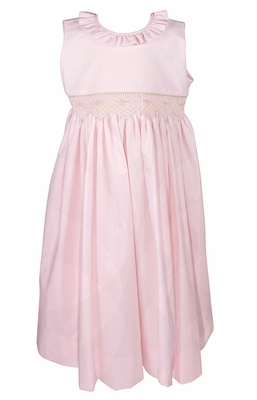 Le Za Me Girls Sleeveless Smocked Waist Dress with Ruffle Neck and Sash - Light Pink