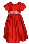 Le Za Me Girls Smocked Bodice Christmas Dress with Sash - Ruffle Neck - Red Silk
