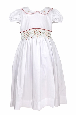 Le Za Me Girls Snow White Smocked Waist Christmas Dress with Collar and Sash