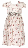 Le Za Me Girls Vintage Cream / Red Christmas Roses Smocked Waist Dress with Sash