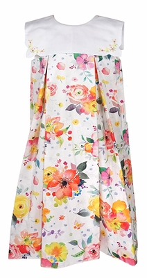Le Za Me Girls Watercolor Market Blooms Floral Sleeveless Dress with Embroidered Collar