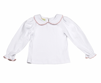 Le Za Me Girls White Blouse with Collar Trimmed in Rust