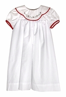Le Za Me Girls White Christmas Dress - Scallop Collar with Embroidery