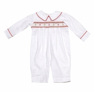 Le Za Me Infant Boys Long White Romper - Smocked in Red for Christmas