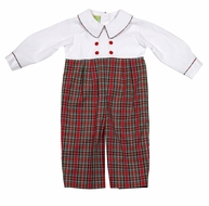 Le Za Me Infant Boys Red Christmas Plaid Double Breasted Romper