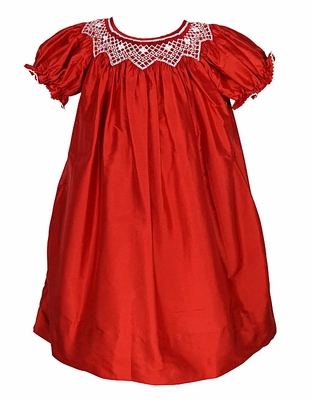 Le Za Me Infant Toddler Girls Smocked Christmas Bishop
