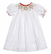 Le Za Me Infant / Toddler Girls White Chrismas Dress - Bishop Smocked in Red & Green