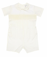 Le Za Me Kids Baby / Toddler Boys Dressy Smocked IVORY Button On Suit