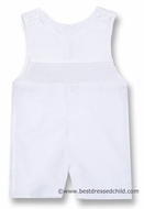Le Za Me Kids Baby / Toddler Boys Dressy Smocked White SHORTALL
