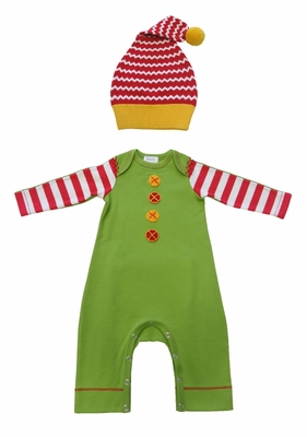 sc 1 st  Best Dressed Child & Lemon Loves Lime Baby Boys Green Happy Elf Romper with Santa Hat
